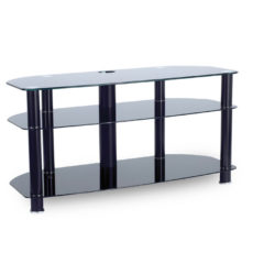 1000mm Open TV Stand Upto 42inch TV Black/Glass