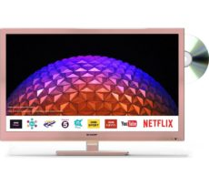 """24"""" SHARP LC-24DHG6001KFR Smart HD Ready LED TV with Built-in DVD Player - Rose Gold, Gold"""