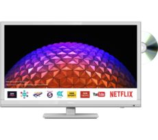 "24"" SHARP LC-24DHG6001KFW Smart HD Ready LED TV with Built-in DVD Player - White, White"