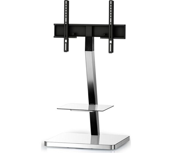 SONOROUS PL2710-WHT-SLV 600 mm TV Stand with Bracket - White & Silver, White