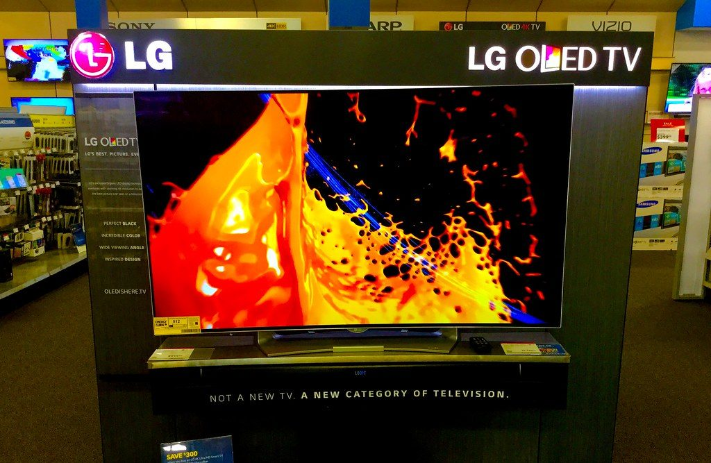 A photograph of an LG OLED TV