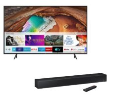 "75"" SAMSUNG QE75Q60RATXXU Smart 4K Ultra HD HDR QLED TV & HW-N300 2.0 Compact Sound Bar Bundle"