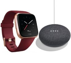 FITBIT Versa Ruby & Home Mini Charcoal Bundle, Charcoal