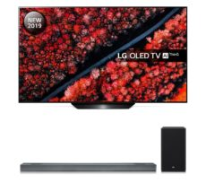"55"" LG OLED55B9PLA Smart 4K Ultra HD HDR OLED TV with Google Assistant & SL9YG 4.1.2 Wireless Sound Bar with Dolby Atmos Bundle, Black"