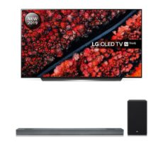 """LG SL9YG 4.1.2 Wireless Sound Bar with Dolby Atmos & OLED55C9MLB 55"""" Smart 4K Ultra HD HDR OLED TV with Google Assistant Bundle, Black"""